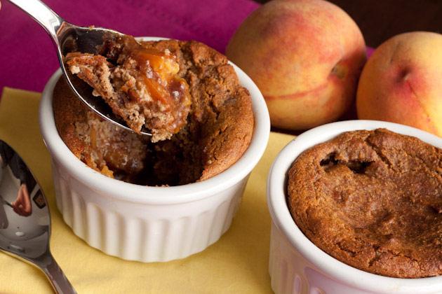 Two ramekins of Peach Pancake Cobbler