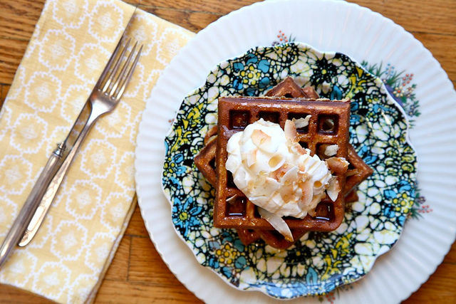 Coconut Waffles With Roasted Maple Cherries Recipes — Dishmaps