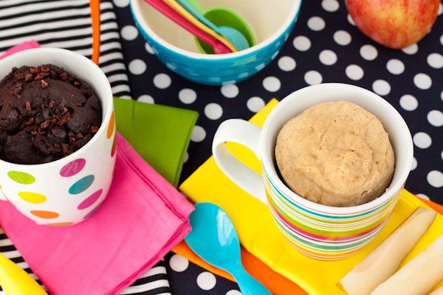 Paleo Chocolate Fudge + Vanilla Bean Mug Cakes