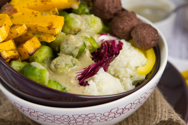 "Brussels Bowl with Cauliflower ""Rice"" and Rosemary Sauce #paleo #grainfree #vibrantlifecleanse"