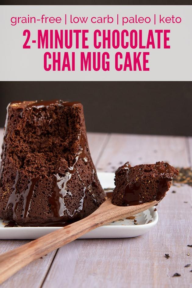 (No Sugar!) Flourless Chocolate Chai Mug Cake #lowcarb #keto #paleo #sugarfree