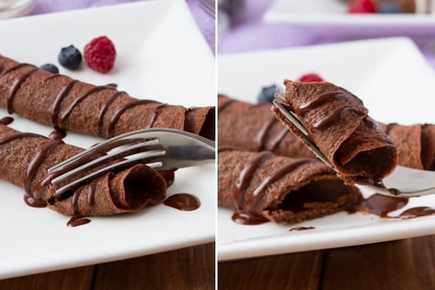 Delectably thin paleo chocolate crepes made with natural ingredients ...