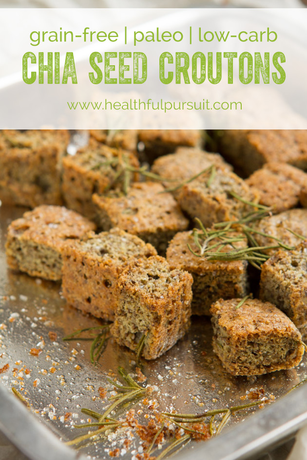make grain-free croutons with chia seed:: low-carb rosemary chia croutons
