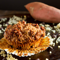Sweet Potato Chocolate Quinoa Crumble Muffins