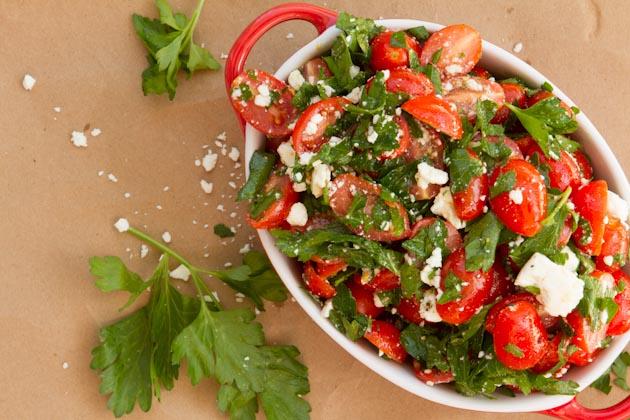 Tomato Feta Salad – Simple feta-based salad with fresh grape ...