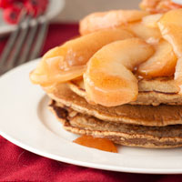 Maple Cinnamon Protein Pancakes with Glazed Apples
