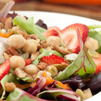 Maple Balsamic Dijon Salad with Strawberries & Pecans