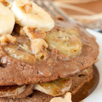 Oil-free Upside Down Banana Bread Pancakes + Maple Cream