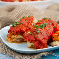 Roasted Veggie & Turkey Cabbage Rolls