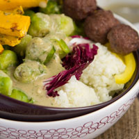 "Brussels Bowl with Cauliflower ""Rice"" and Rosemary Sauce"