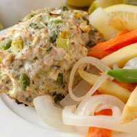 Spring Leek and Lemon Chicken Patties with Steamed Veggie Salad