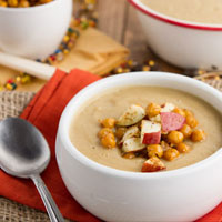 Curried Cauliflower & Apple Soup with Roasted Chickpeas and Homemade Curry Powder