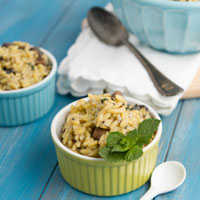 Portobello Orzo with Dairy-free Lemon Mint Cream Sauce