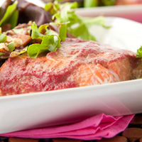Raspberry Ginger Baked Salmon