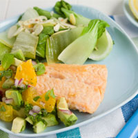 Citrus Salsa with Salmon and Bok Choy
