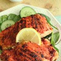 Flavour Fiesta: Tandoori Salmon with Spinach, Cucumber and Pickled Onions