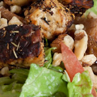 Sweet Lemon Salad with Lemon Pepper Tempeh Croutons