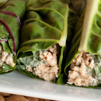 Tuna Chard Wraps with Fresh Dill Sauce + Apple Dips