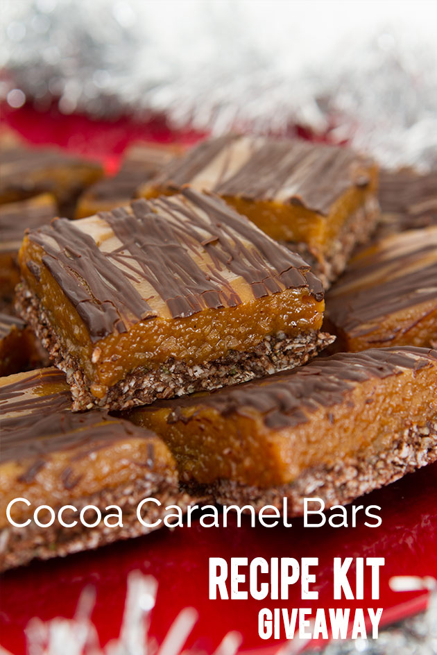 Pin it to win a Recipe Kit package, filled with $75 of organic, gluten-free, vegan & paleo products needed to make these Cocoa Caramel Bars. Includes a healthy Christmas dessert cookbook. Complete details here -->> https://www.healthfulpursuit.com/2013/12/cocoa-caramel-bar/