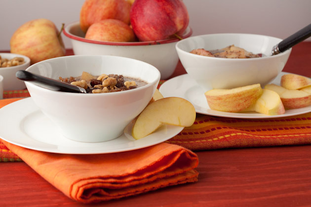 Crock-Pot Apple Crumble Breakfast Pudding #paleo #grainfree #vegan