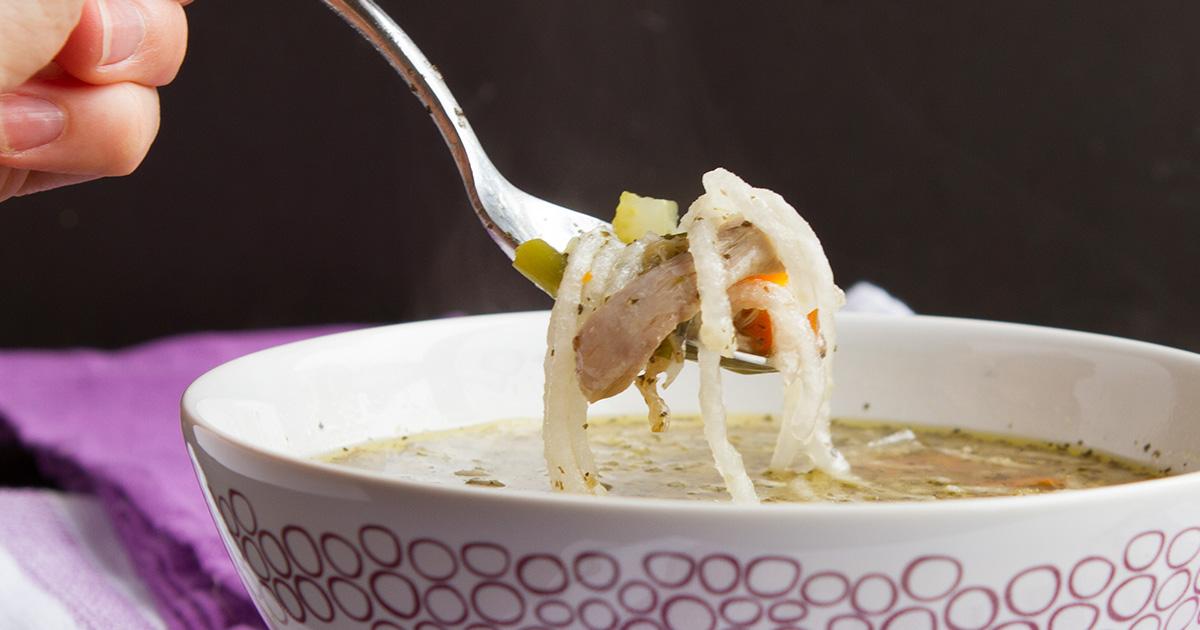 """Low-Carb Keto Chicken """"Noodle"""" Soup"""