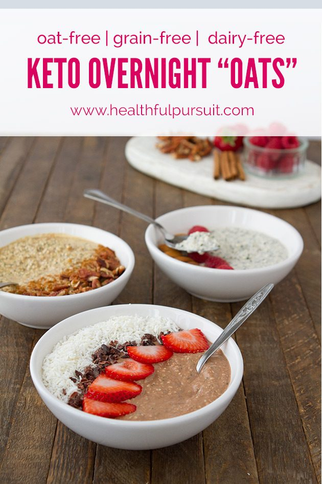 "3 keto overnight ""oats"" recipes: pumpkin spice latte, vanilla, and fudge #keto #lowcarb #highfat #vegan #paleo"