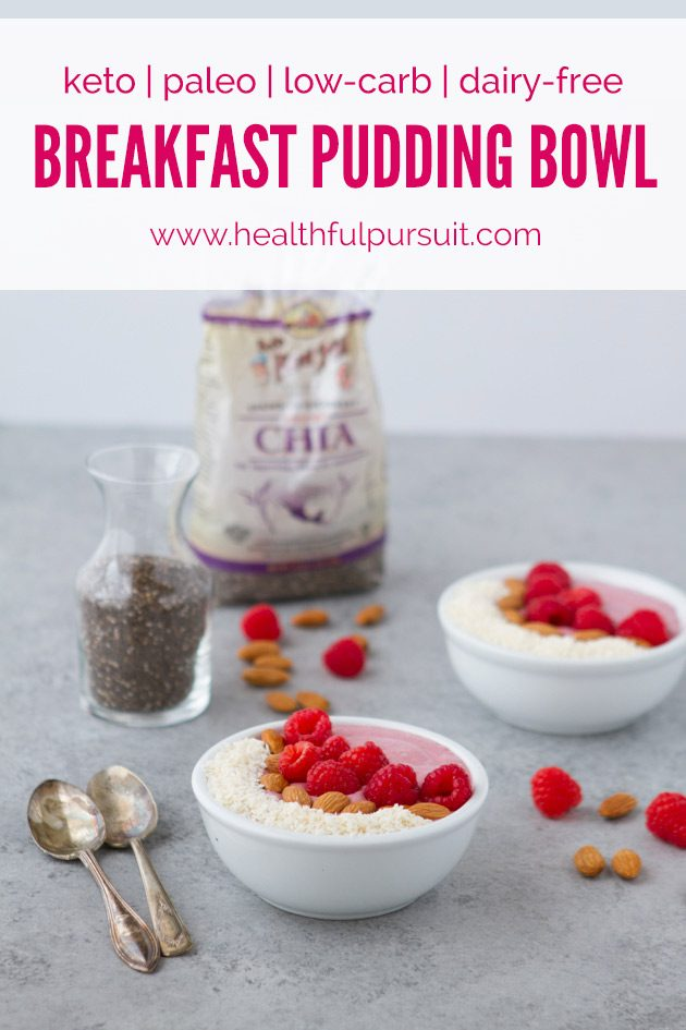 Keto Raspberry Breakfast Pudding Bowl #keto #lowcarb