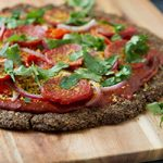 Thai Salami Pizza with Flaxseed Crust (keto, paleo, low-carb + dairy-free) Preview