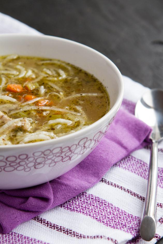 """Low Carb Chicken """"Noodle"""" Soup"""