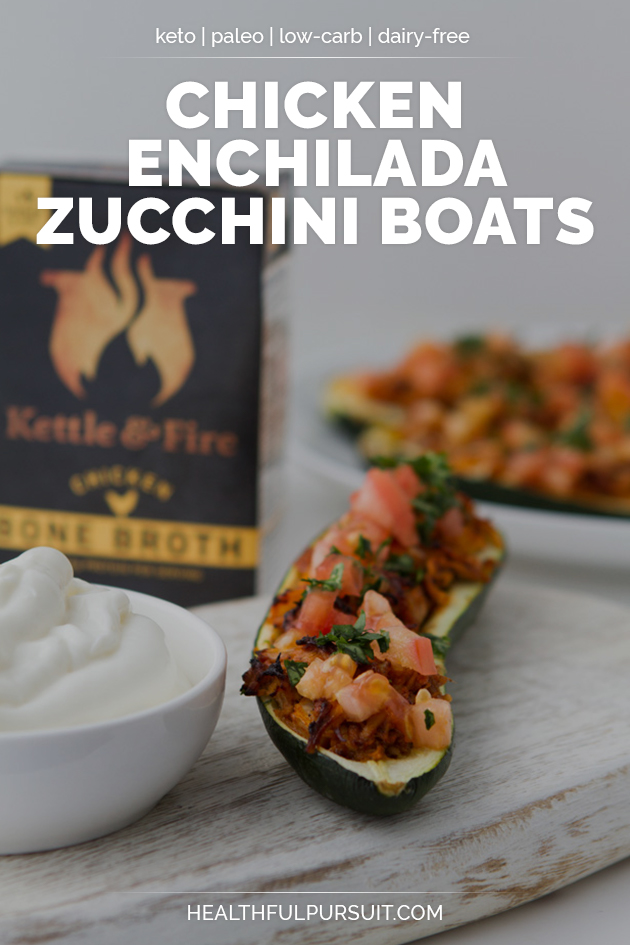 Chicken Enchilada Zucchini Boats #keto #lowcarb #highfat #theketodiet