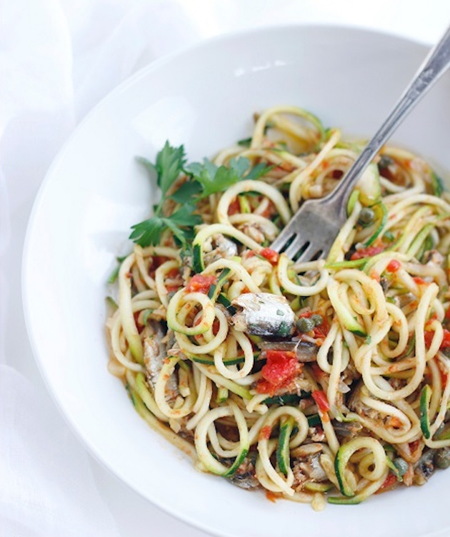 Noodles with Sardines, Tomatoes & Capers