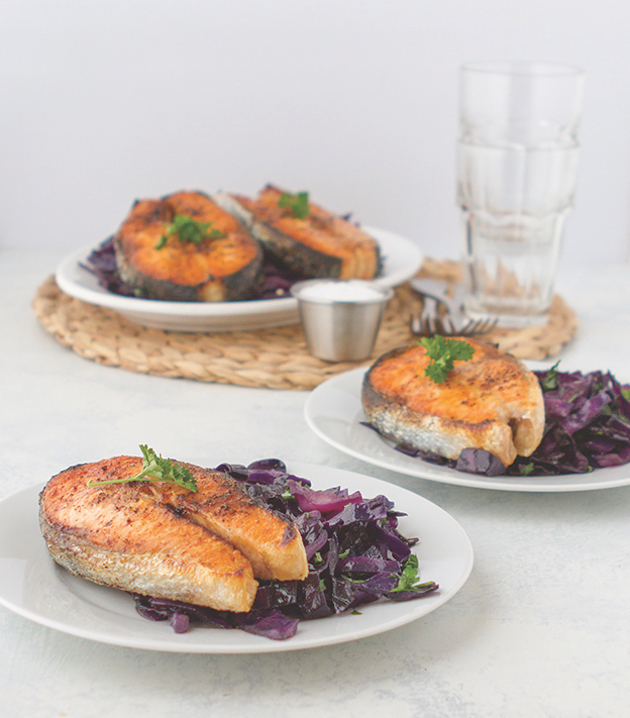 Crispy Salmon Steaks with Sweet Cabbage
