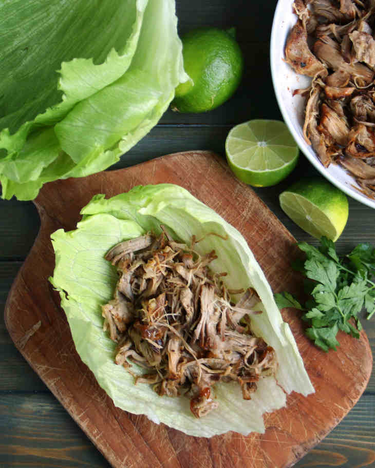 Pork Carnitas with Lettuce Wraps