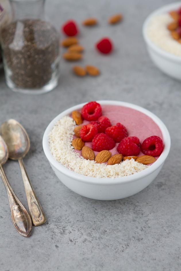 Keto Raspberry Breakfast Pudding Bowl