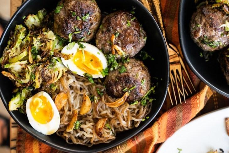Teriyaki Meatballs Noodle Bowl