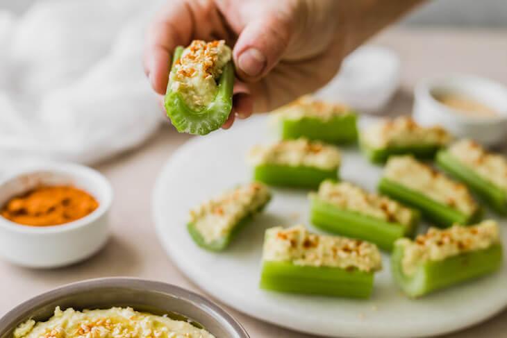 Vegan Keto Hummus Celery Boats