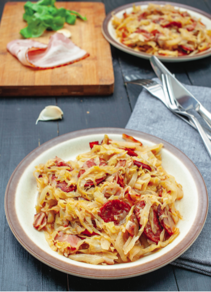 Cabbage & Sausage with Bacon
