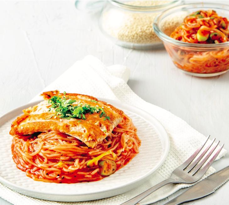 Noodles & Glazed Salmon