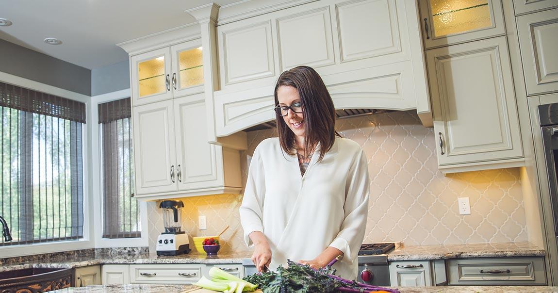 Leanne Vogel preparing a meal