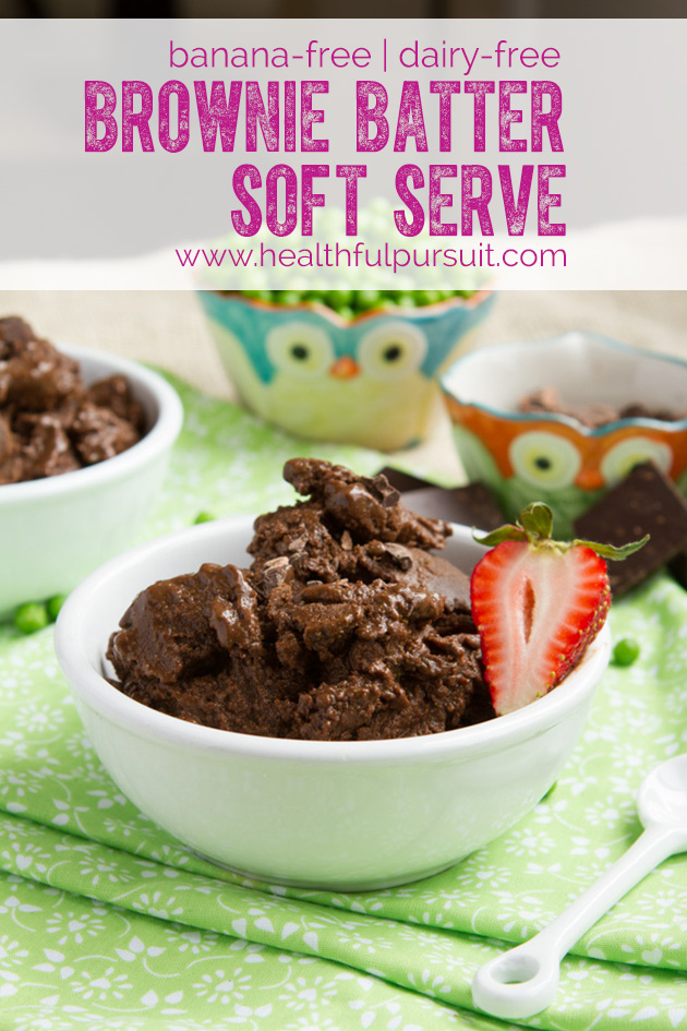 Brownie Batter Soft Serve Ice Cream WITHOUT BANANAS -- #secretingredient #dairyfree #browniebatter