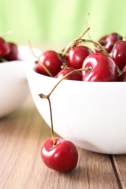 Cherries in white bowl