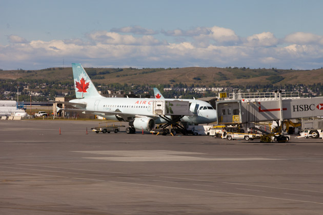 Air Canada aircraft sitting in Calgary YYC