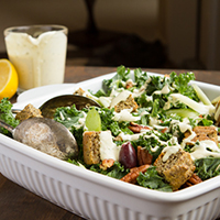 Kale Salad with Olives, Chia Croutons + Creamy Lemon Rosemary