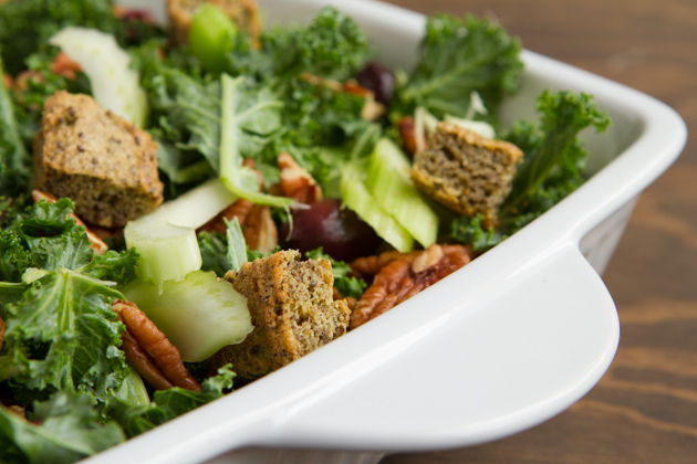 Kale Salad with Olives, Chia Croutons + Creamy Lemon Rosemary Dressing-2273