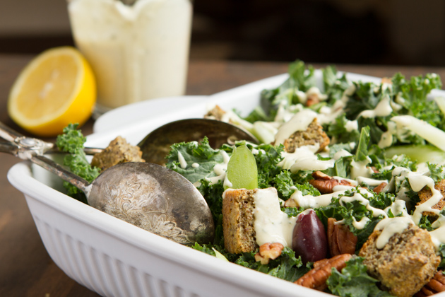 Kale Salad with Olives, Chia Croutons + Creamy Lemon Rosemary Dressing-2296