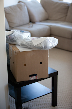 Moving box that looks like it's drooling