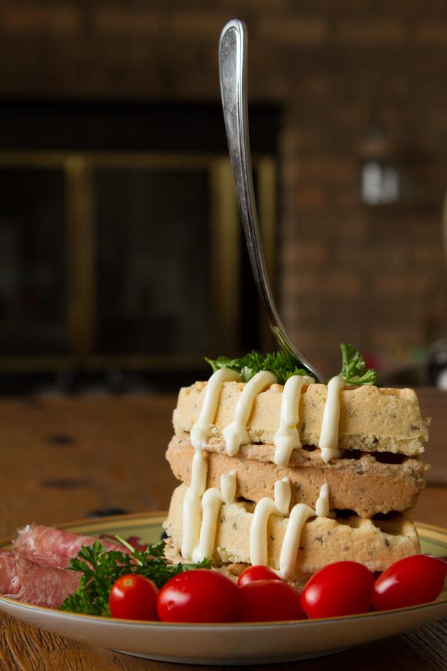 "Savory ""Corn""bread Waffles #cornfree #paleo #keto #lowcarb #dairyfree"