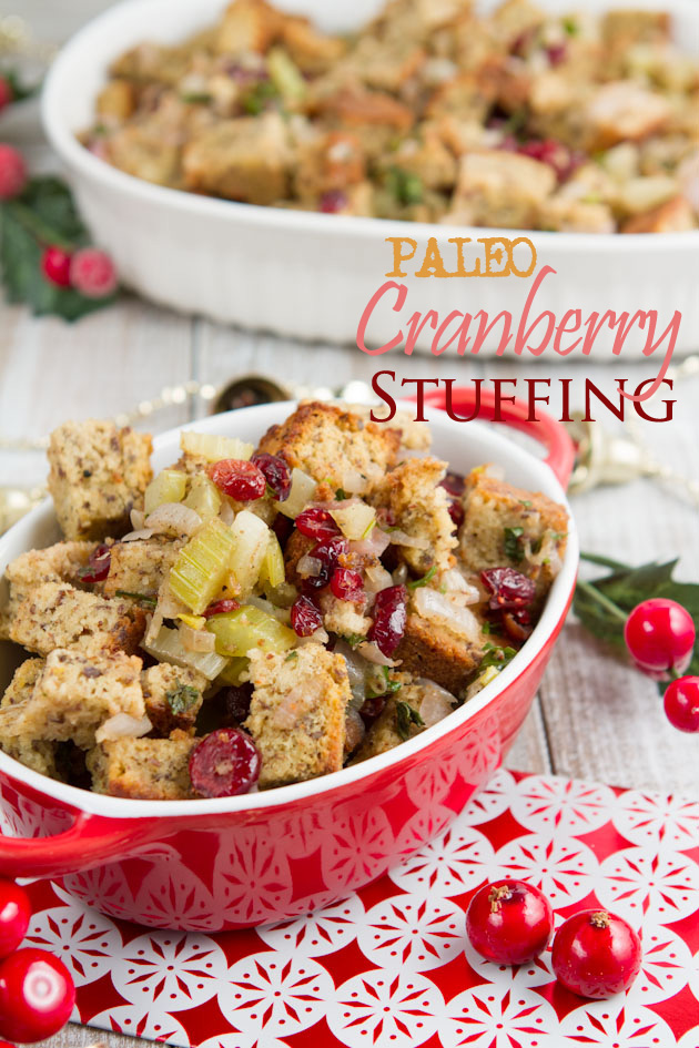 Paleo Cranberry Flax Stuffing with a Grain-free Bread Recipe #paleo