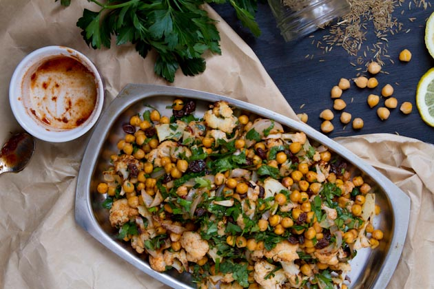 Roasted Cauliflower Salad with Spicy Dressing Healthful Pursuit
