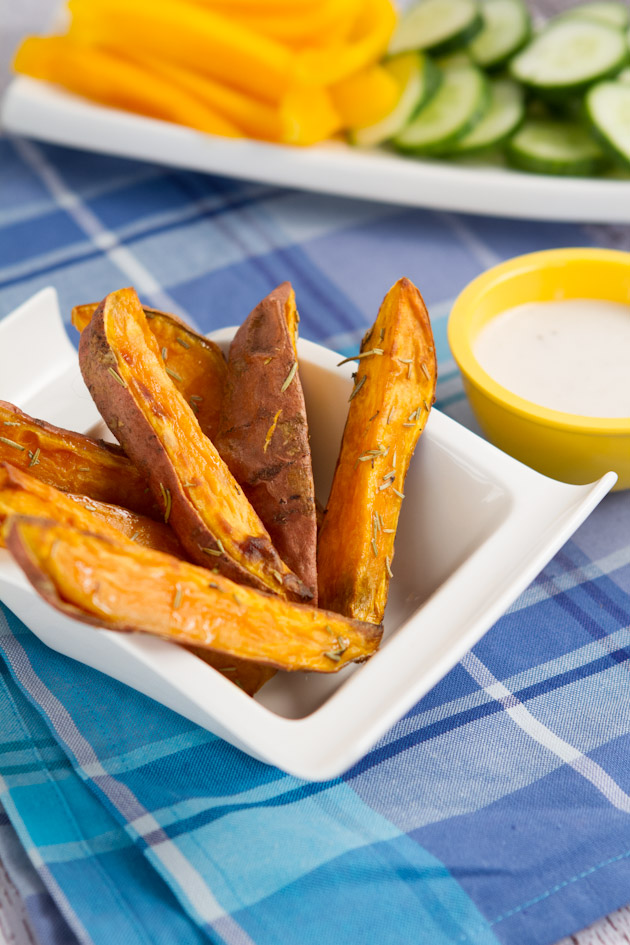 Rosemary Yam Fries with Skinny Garlic Aoli